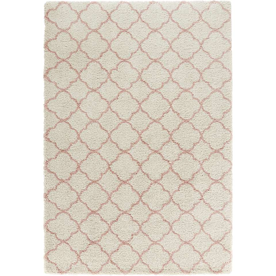 Mint Rugs vloerkleed Luna - crème/roze - 80x150 cm - Leen Bakker