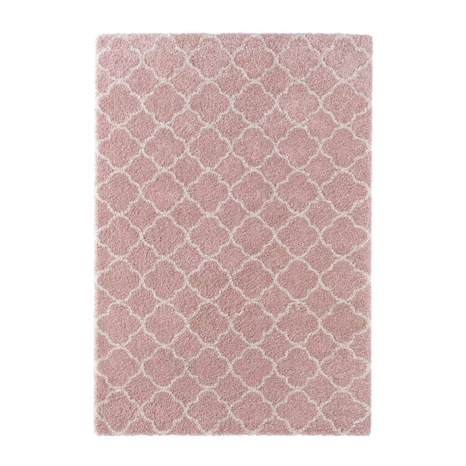 Mint Rugs vloerkleed Luna - roze/crème - 160x230 cm - Leen Bakker