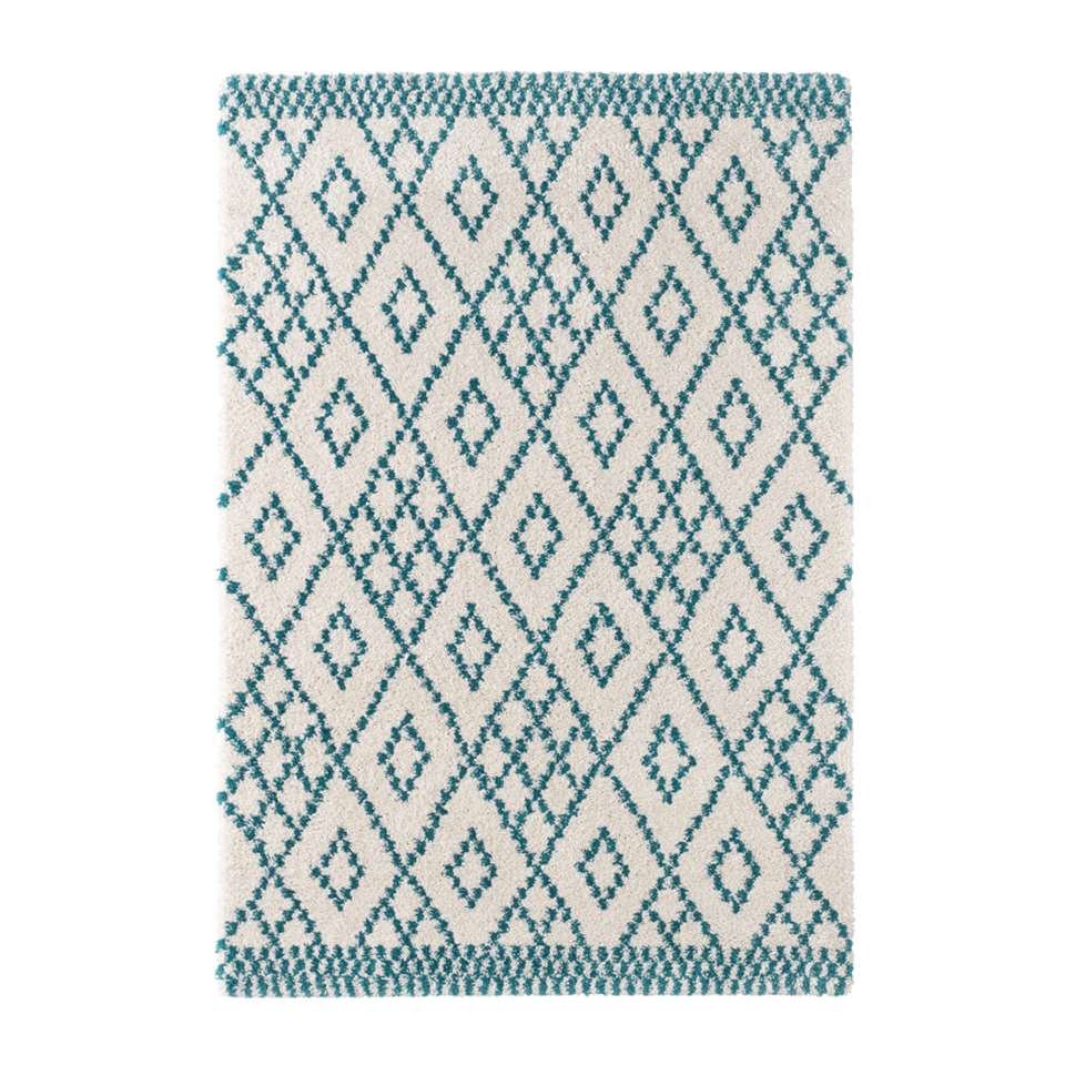 Mint Rugs vloerkleed Chess - crème/blauw - 120x170 cm - Leen Bakker