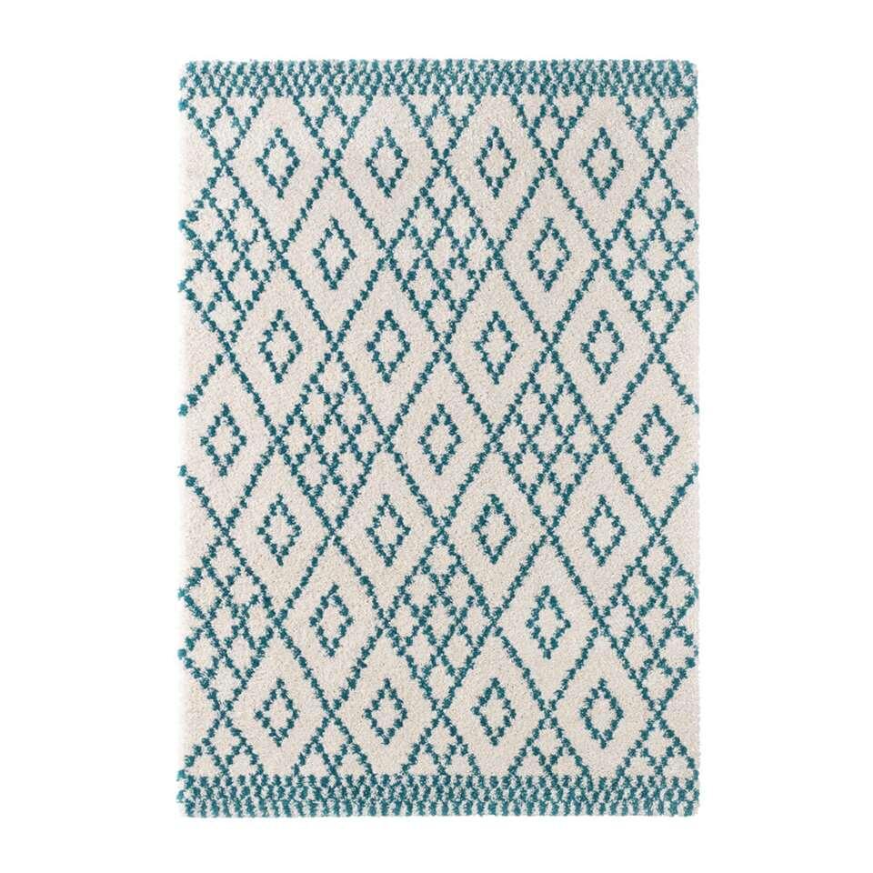 Mint Rugs vloerkleed Chess - crème/blauw - 160x230 cm - Leen Bakker
