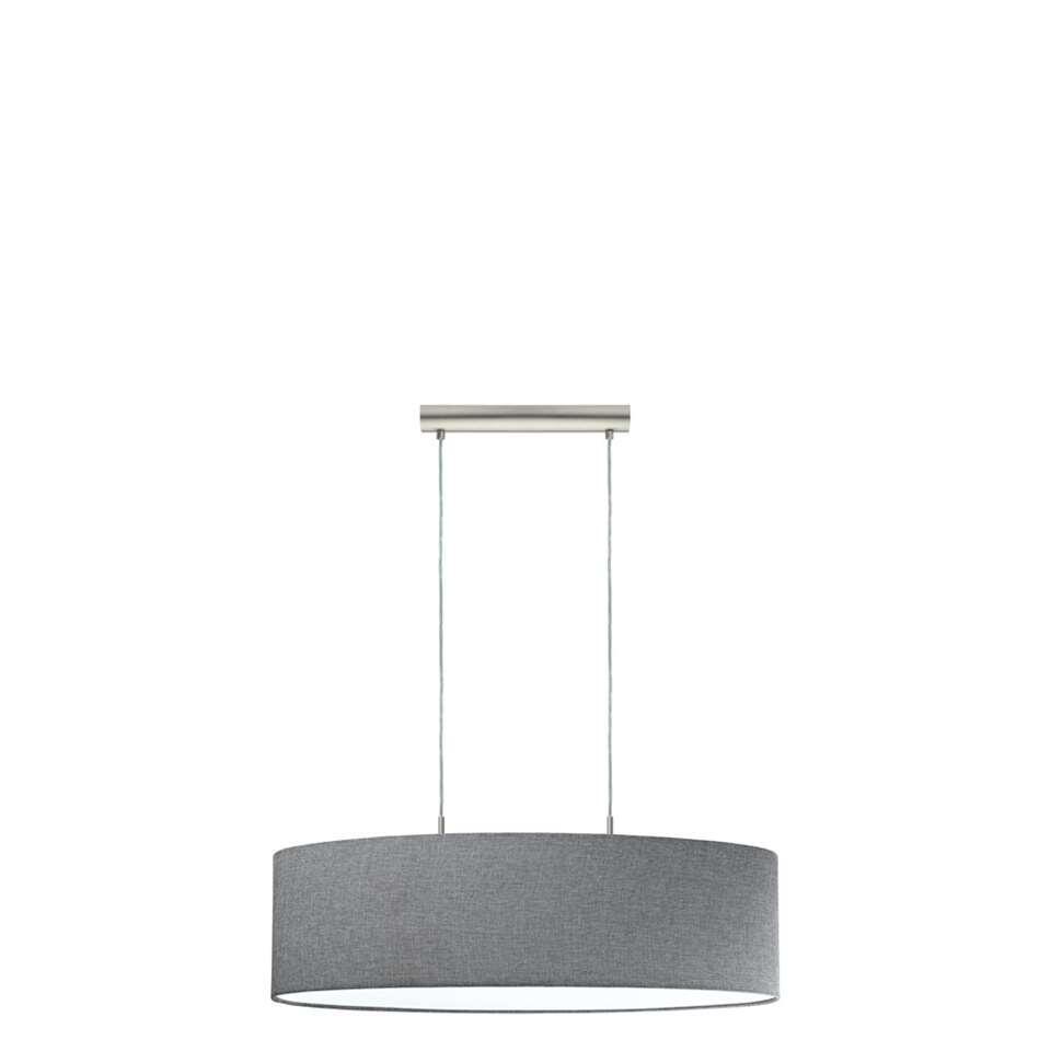 Hanglamp Pasteri van EGLO is een moderne en strakke hanglamp. De stoffen kap zorgt voor een warme sfeer in het interieur. De hanglamp is voorzien van E27 fittingen en is geschikt voor 2 lichtbronnen.