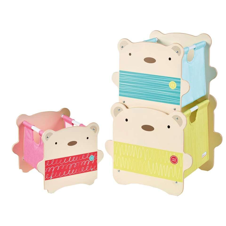 Stapelbare speelgoedkist beer - beige - Leen Bakker