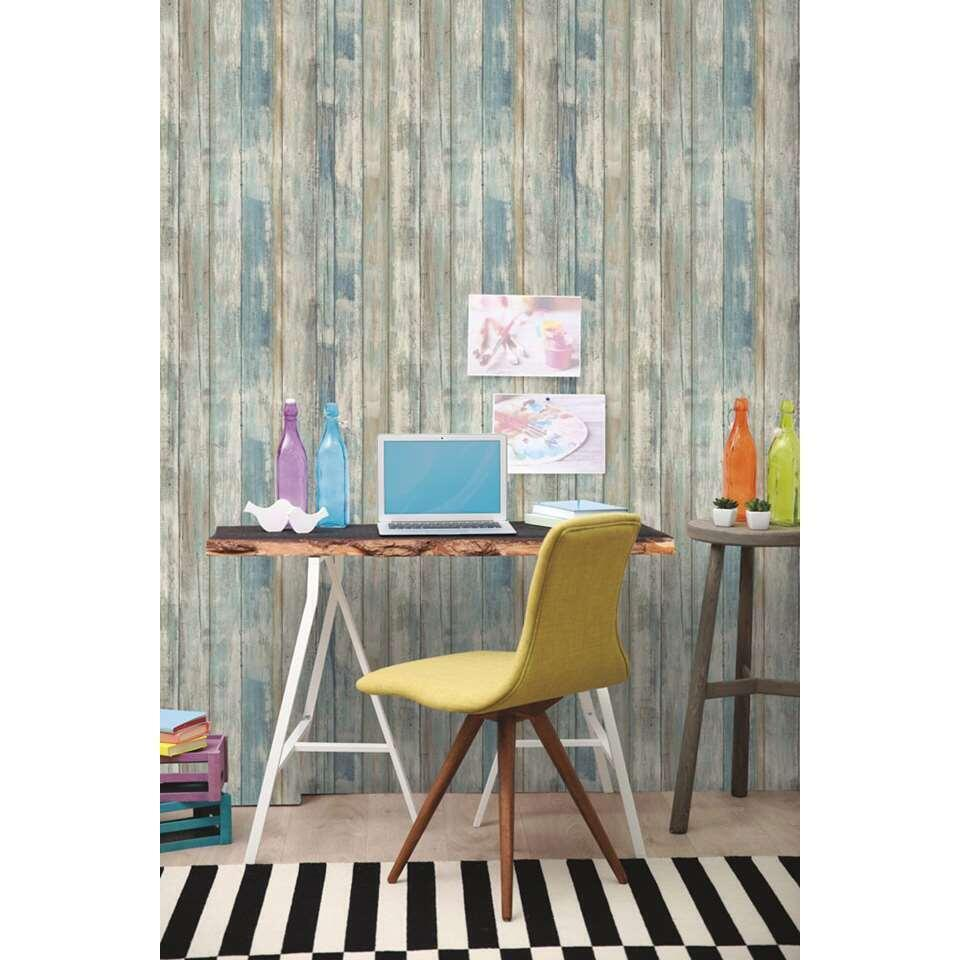 RoomMates wandsticker Peel & Stick Decor Blue Distressed Wood
