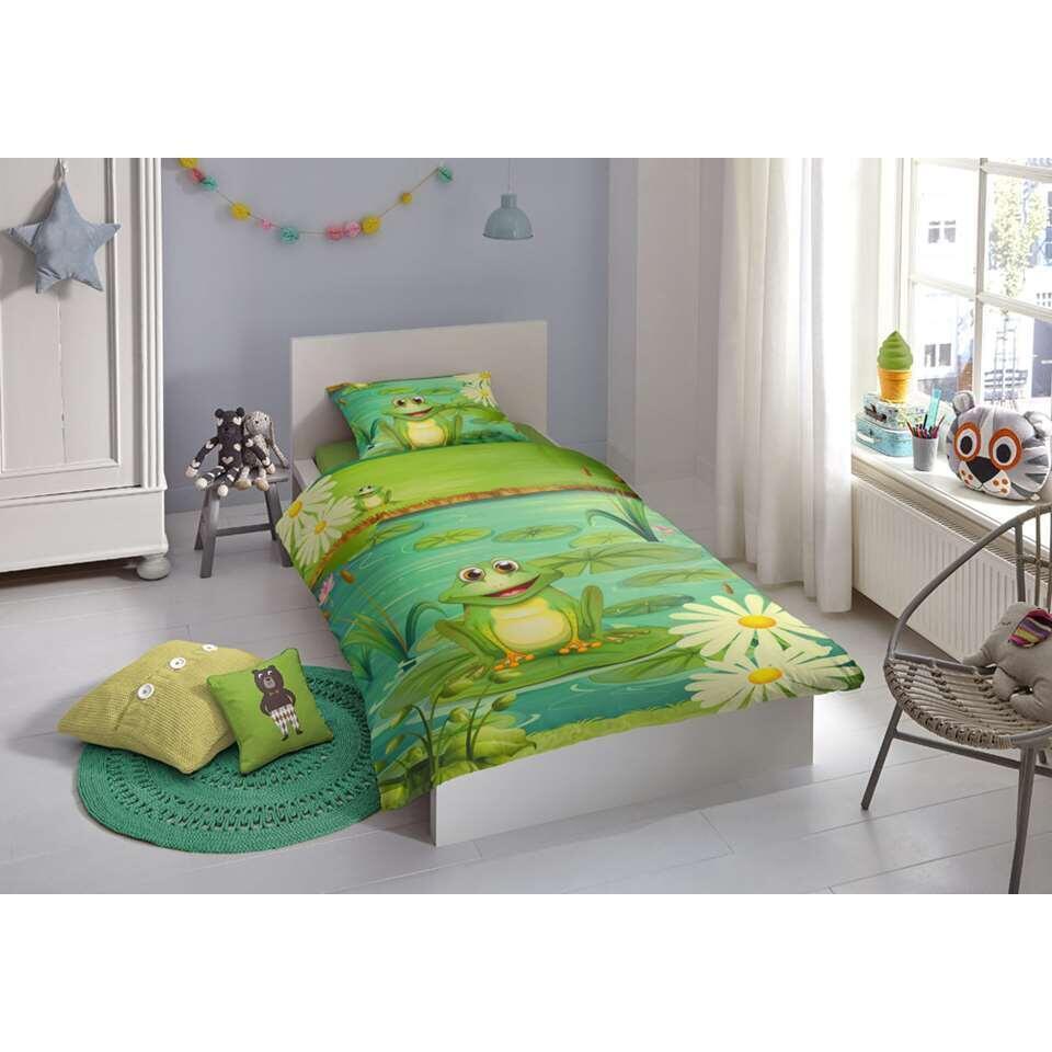 Good Morning dekbedovertrek Frogs - groen - 140x200/220 cm - Leen Bakker
