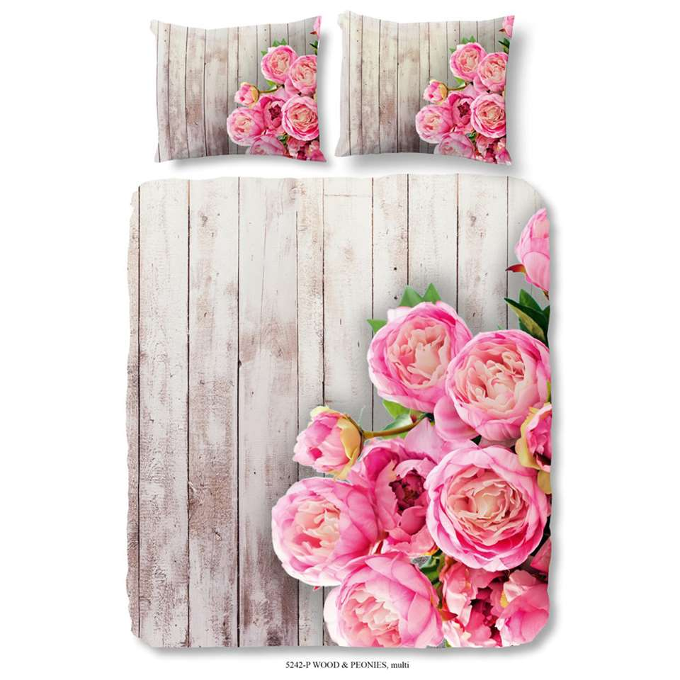 Good Morning dekbedovertrek Wood & Peonies - roze - 200x200/220 cm