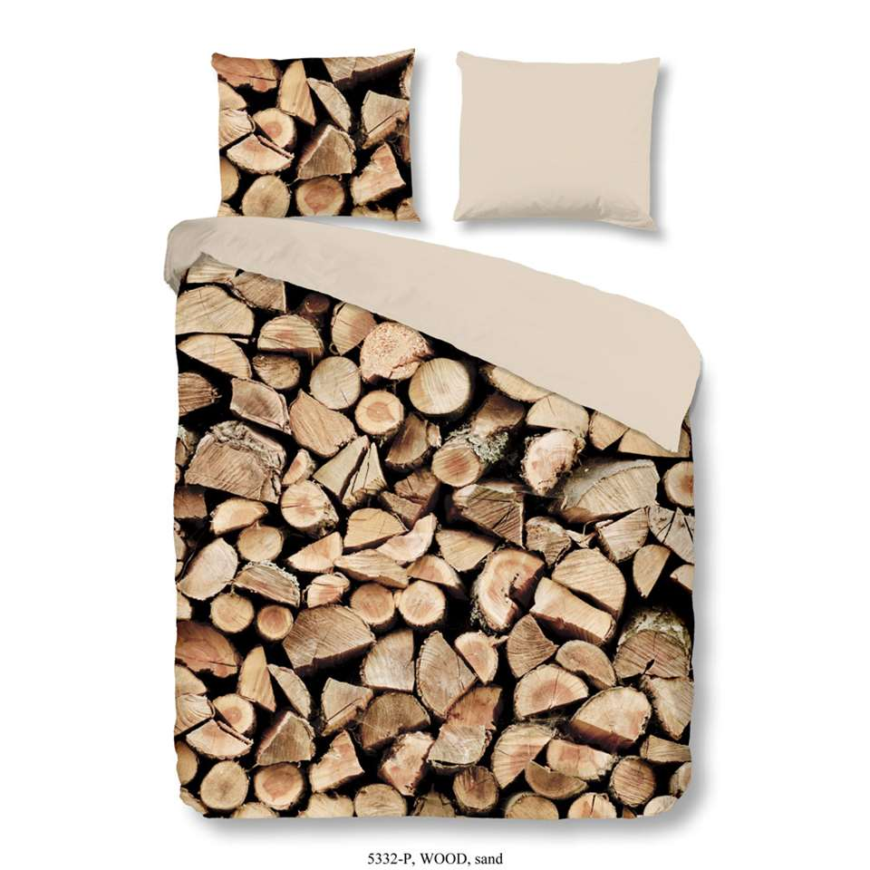 Good Morning dekbedovertrek Wood – bruin – 240×200/220 cm – Leen Bakker