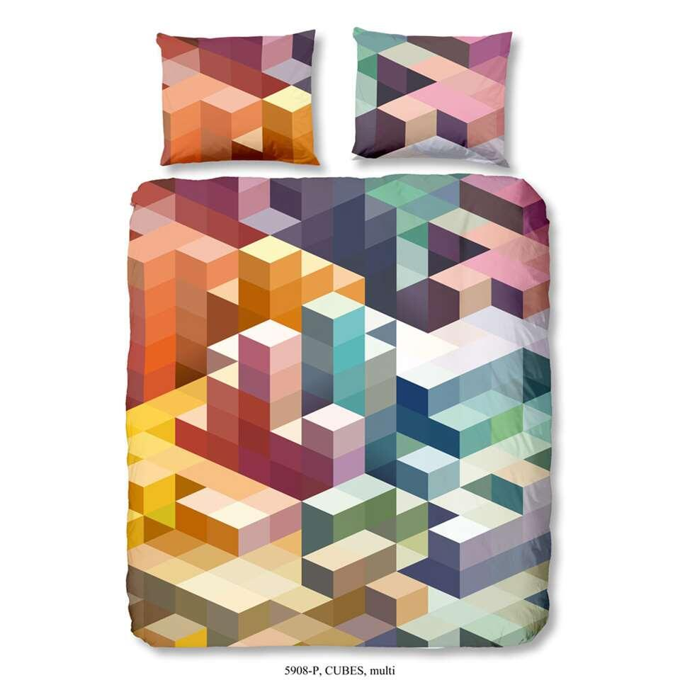 Good Morning dekbedovertrek Cubes - multikleur - 240x200/220 cm - Leen Bakker