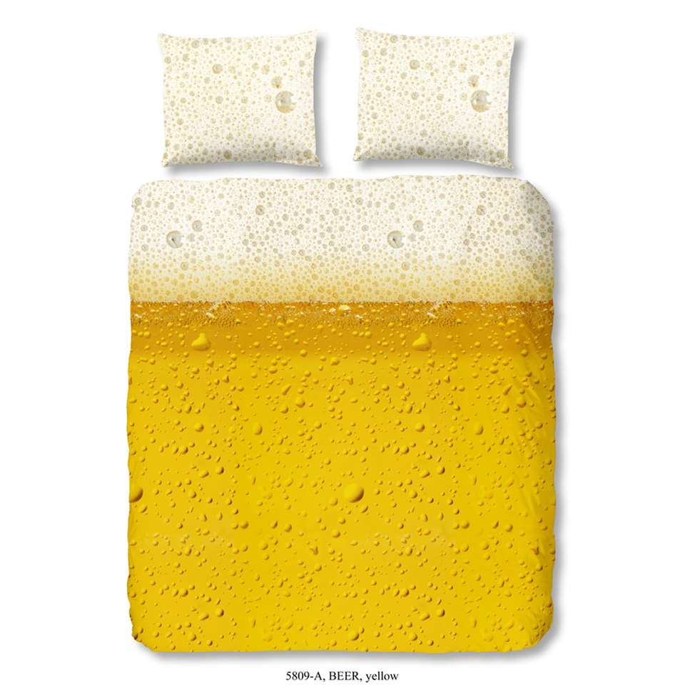 Good Morning dekbedovertrek Beer - geel - 200x200/220 cm - Leen Bakker
