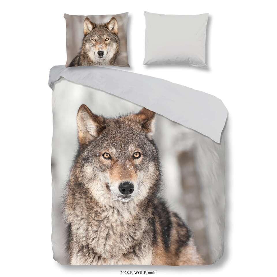 Good Morning dekbedovertrek Wolf - multikleur - 200x200/220 cm