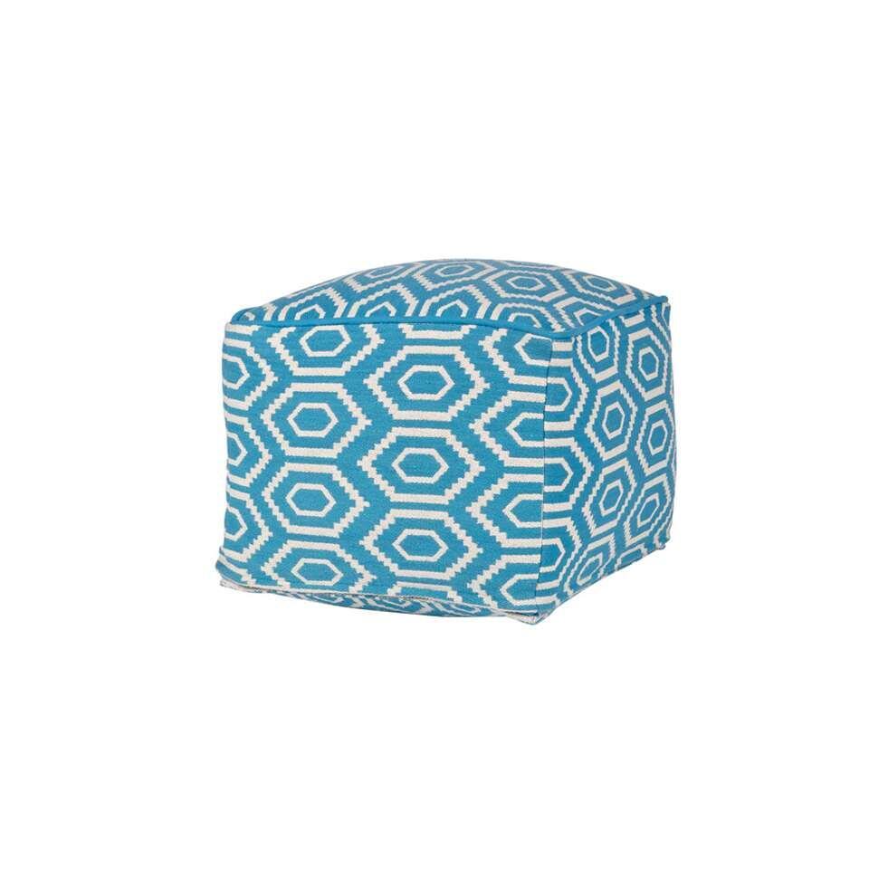 Woood poef Graphic - petrolblauw - 35x45x45 cm - Leen Bakker