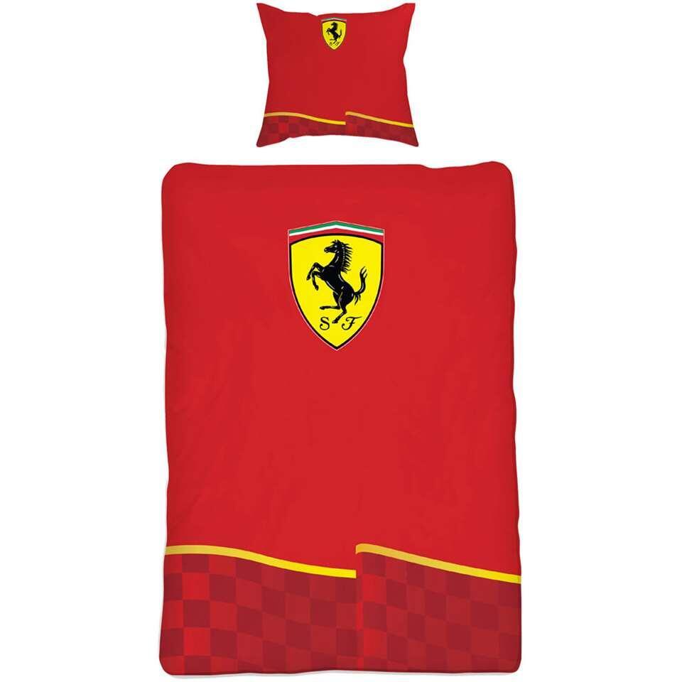 Dekbedovertrek Ferrari Vlag - rood - 140x200 cm - Leen Bakker