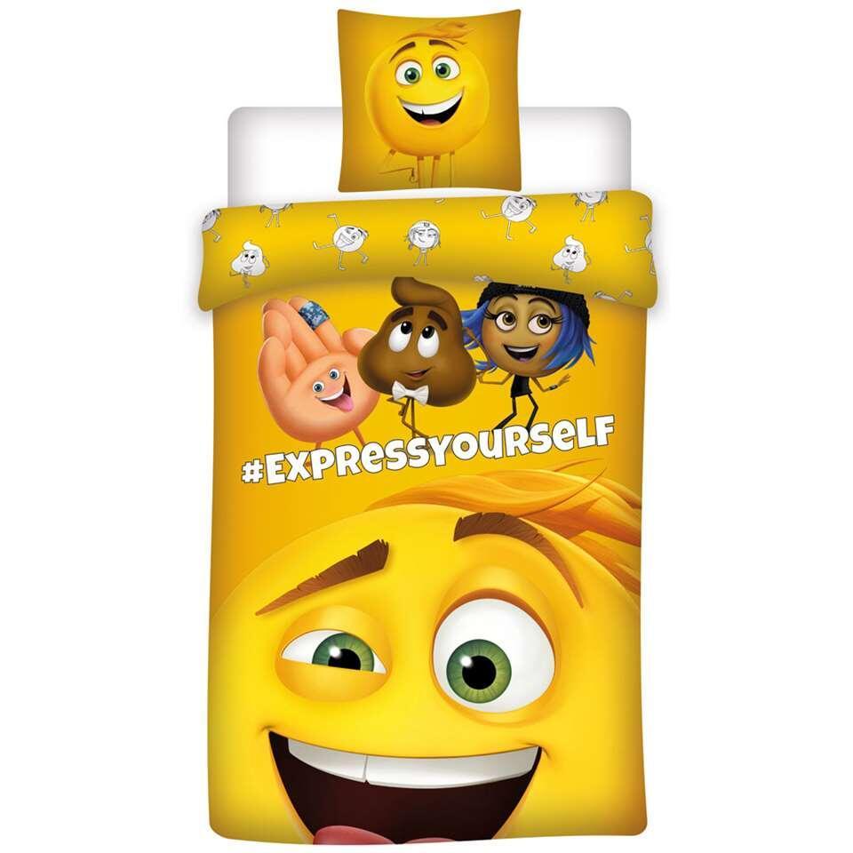 Dekbedovertrek Emoji - geel - 140x200 cm - Leen Bakker