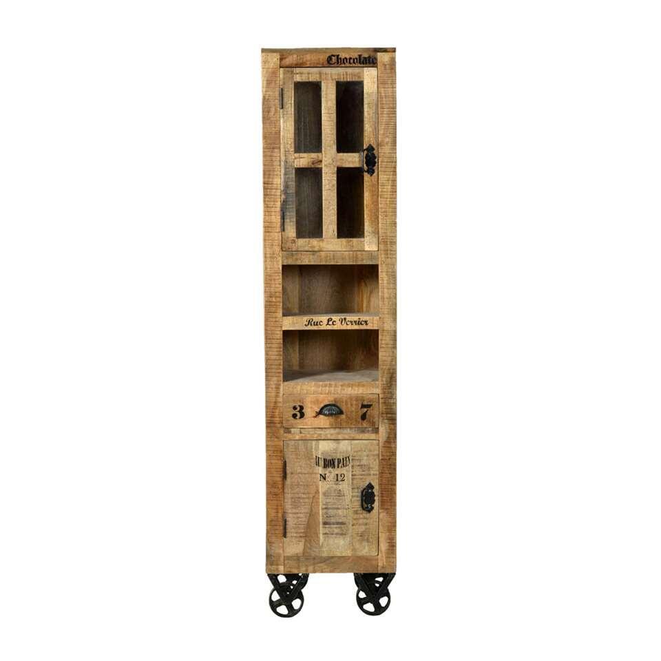 hoge badkamerkast (kolomkast badkamer) Leen Bakker Hout Bruin 81015063