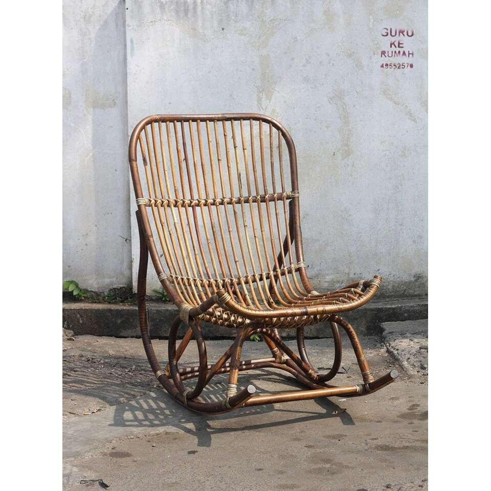 Kussen Voor Rotan Schommelstoel.Schommelstoel Kim Rotan Bruin