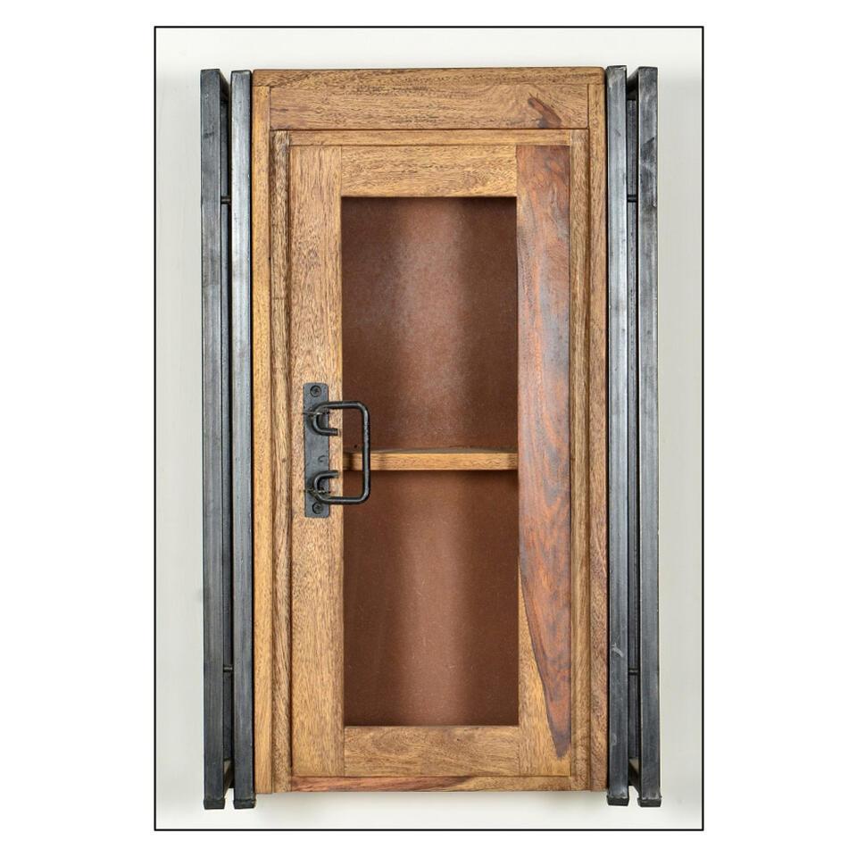 Badkamer bovenkast Quin - bruin - 72x44x21 cm - Leen Bakker