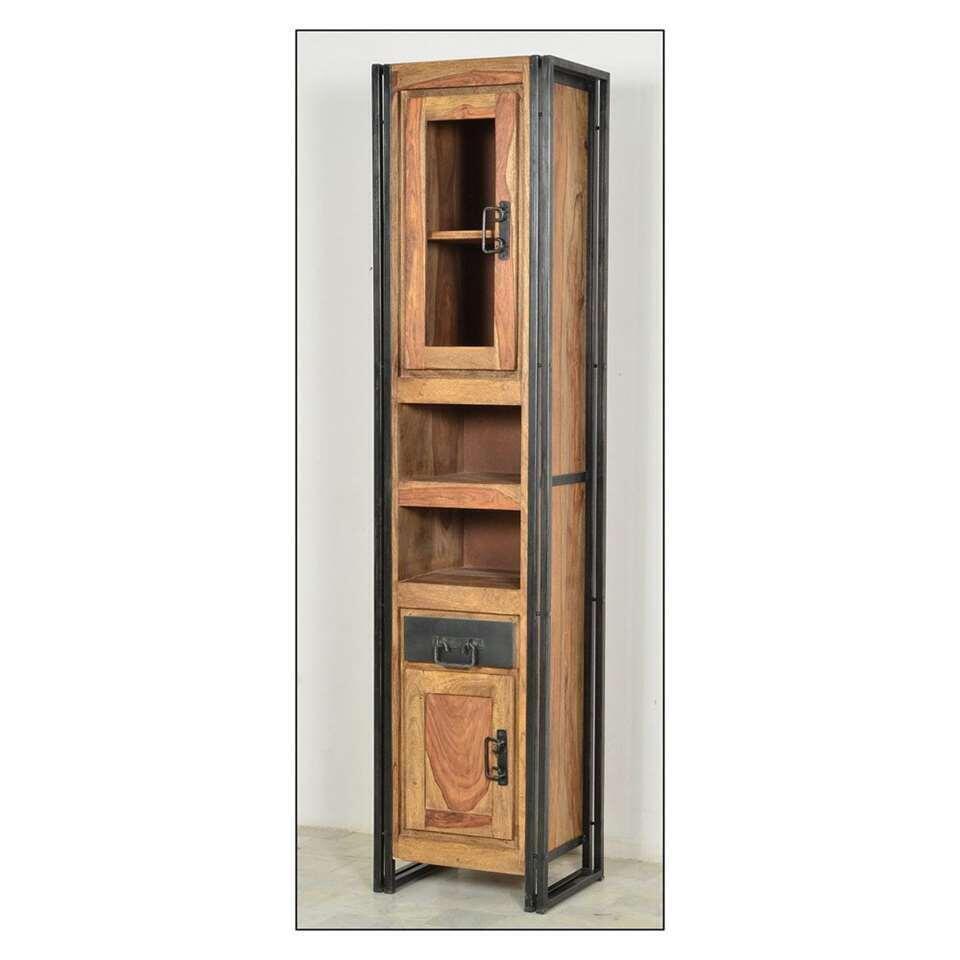 Badkamerkast Quin hoog - bruin - 190x44x34 cm - Leen Bakker