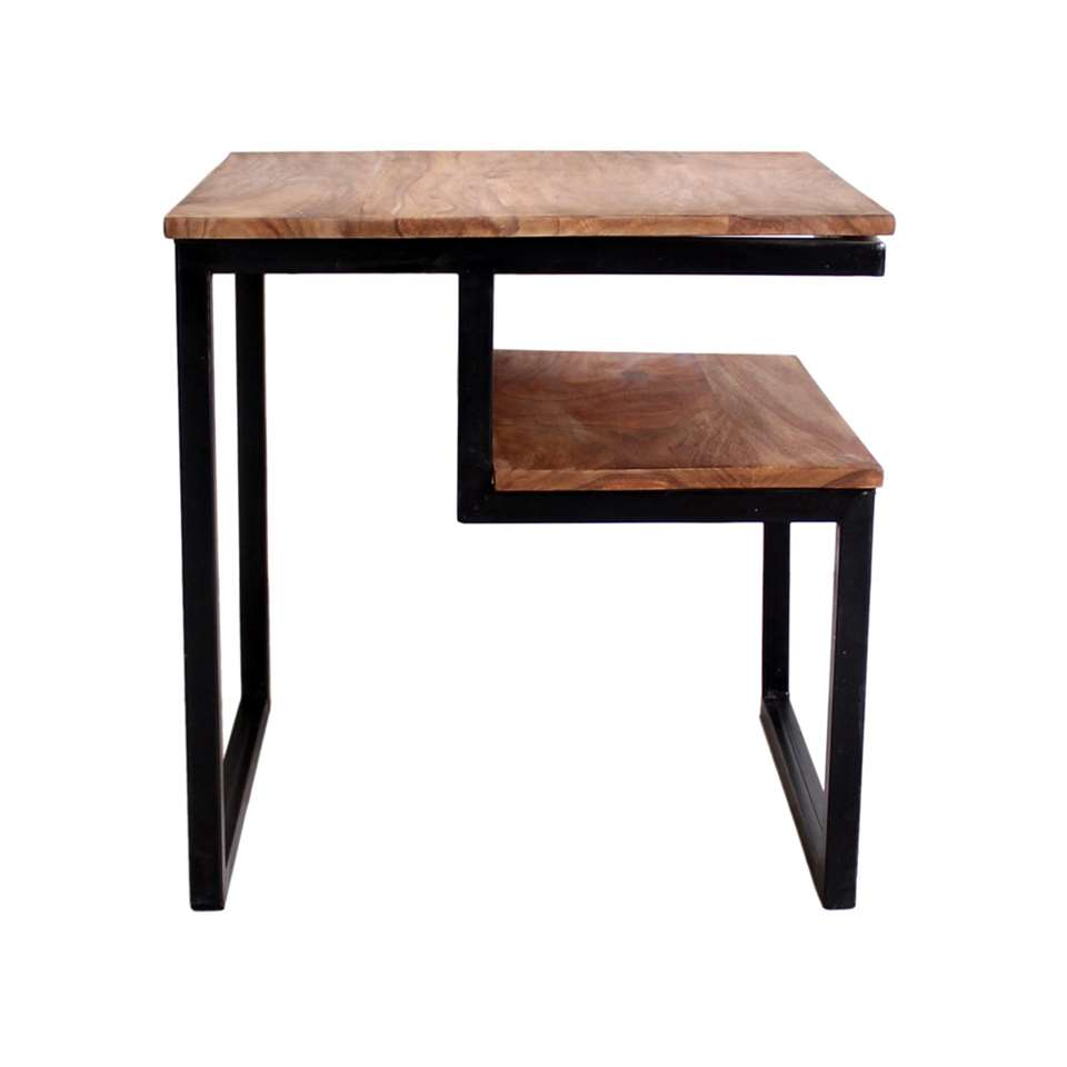 Bijzettafel Quin - bruin - 51x51x52 cm - Leen Bakker
