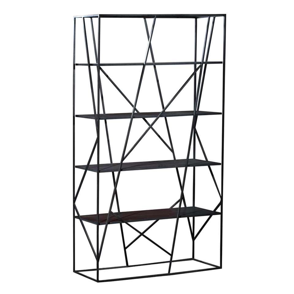 Boekenkast Stijn - zwart - 200x120x38 cm - Leen Bakker