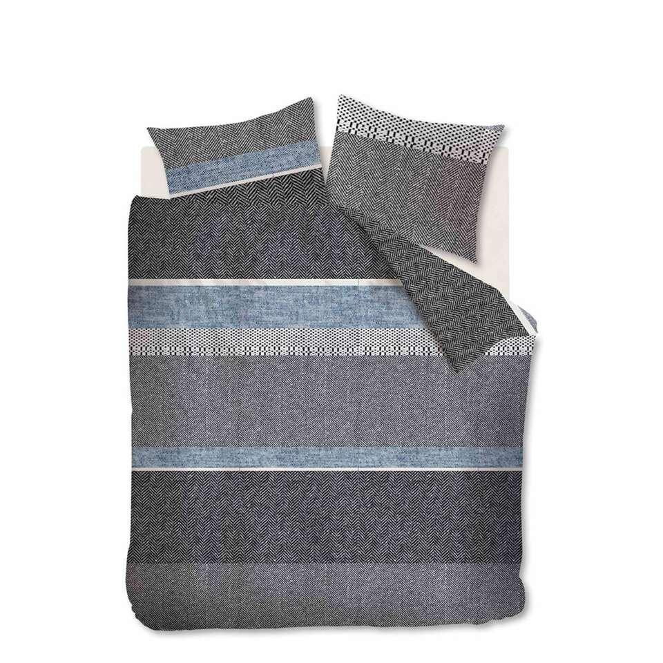 Ambiante dekbedovertrek Structure Stripe - grijs - 200x200/220 cm - Leen Bakker