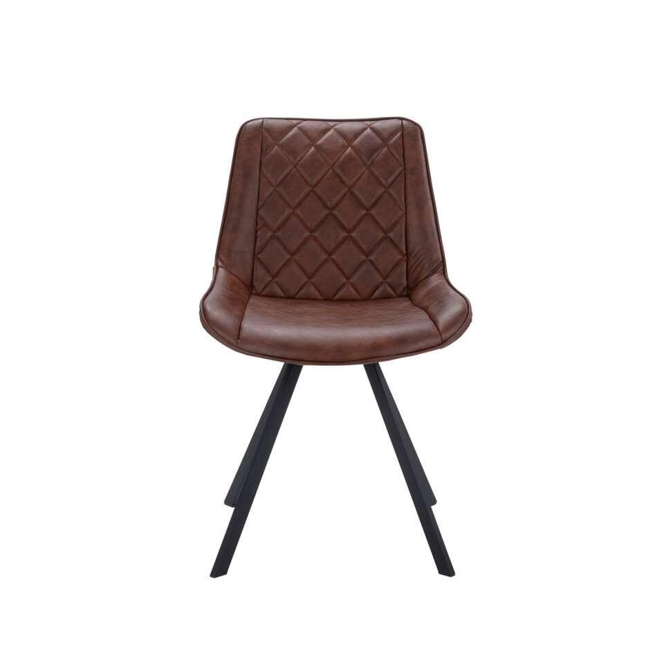 Chaise de salle à manger Harvey - cuir artificiel - marron (2 pièces)