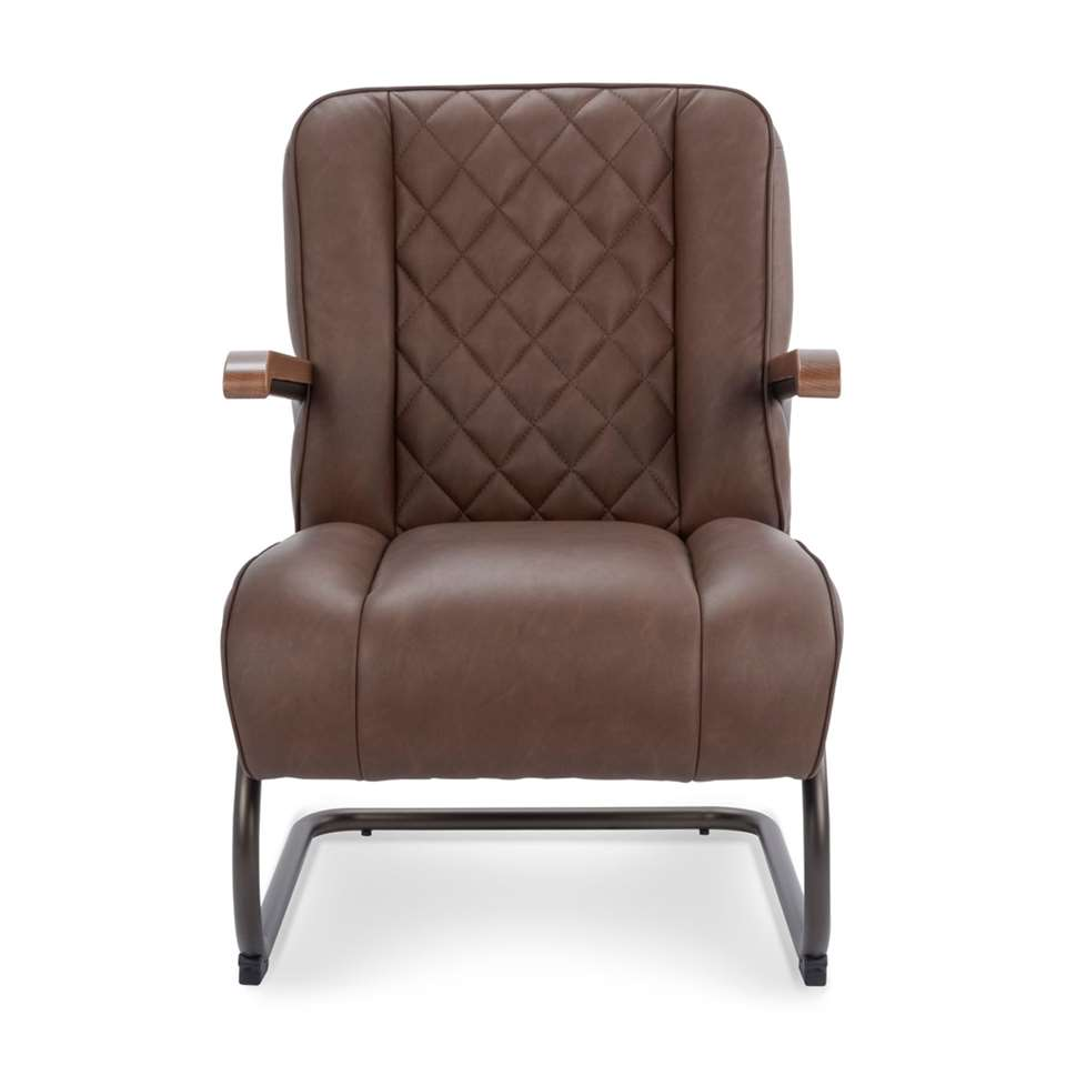 Fauteuil Lennox is bekleed met een stoere vintage leatherlook bekleding in de kleurbruin. De fauteuil heeft een vintage retro look en een hoog zitcomfort. Ben je op zoek naar een stoere fauteuil? Dan is fauteuil Lennox de fauteui