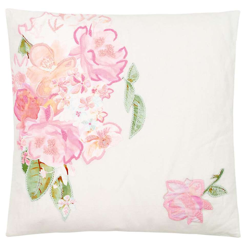 Ariadne at Home sierkussen Hidden Garden - wit/roze - 50x50 cm - Leen Bakker