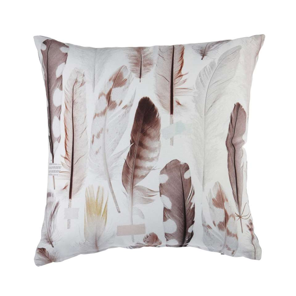 Ariadne at Home sierkussen All Feathers - grijs - 43x43 cm - Leen Bakker