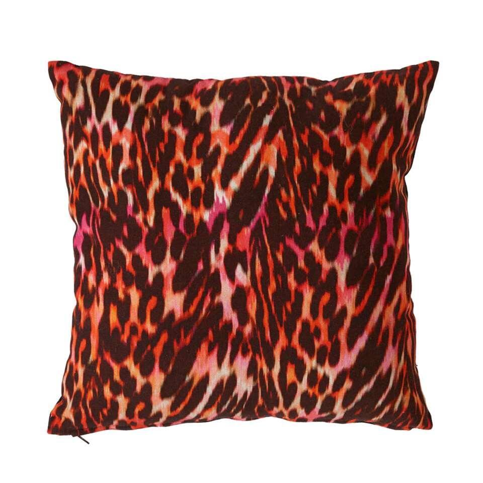 Kaat Amsterdam sierkussen Leopard - rood - 40x40 cm - Leen Bakker