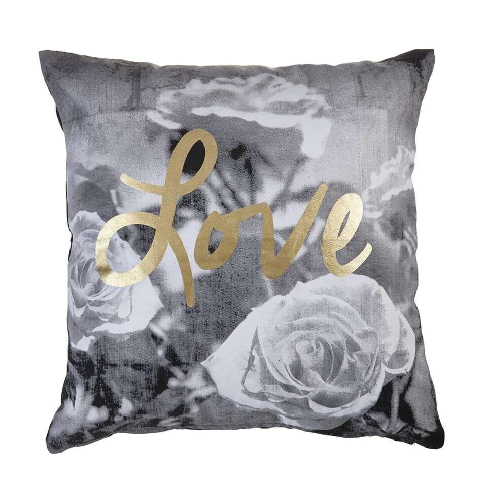 Kaat Amsterdam sierkussen Roses with Love - grijs - 45x45 cm - Leen Bakker