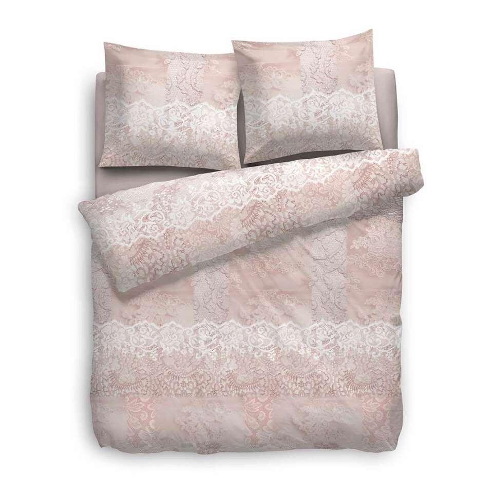 Heckett & Lane dekbedovertrek Lux - roze - 200x200/220 cm - Leen Bakker
