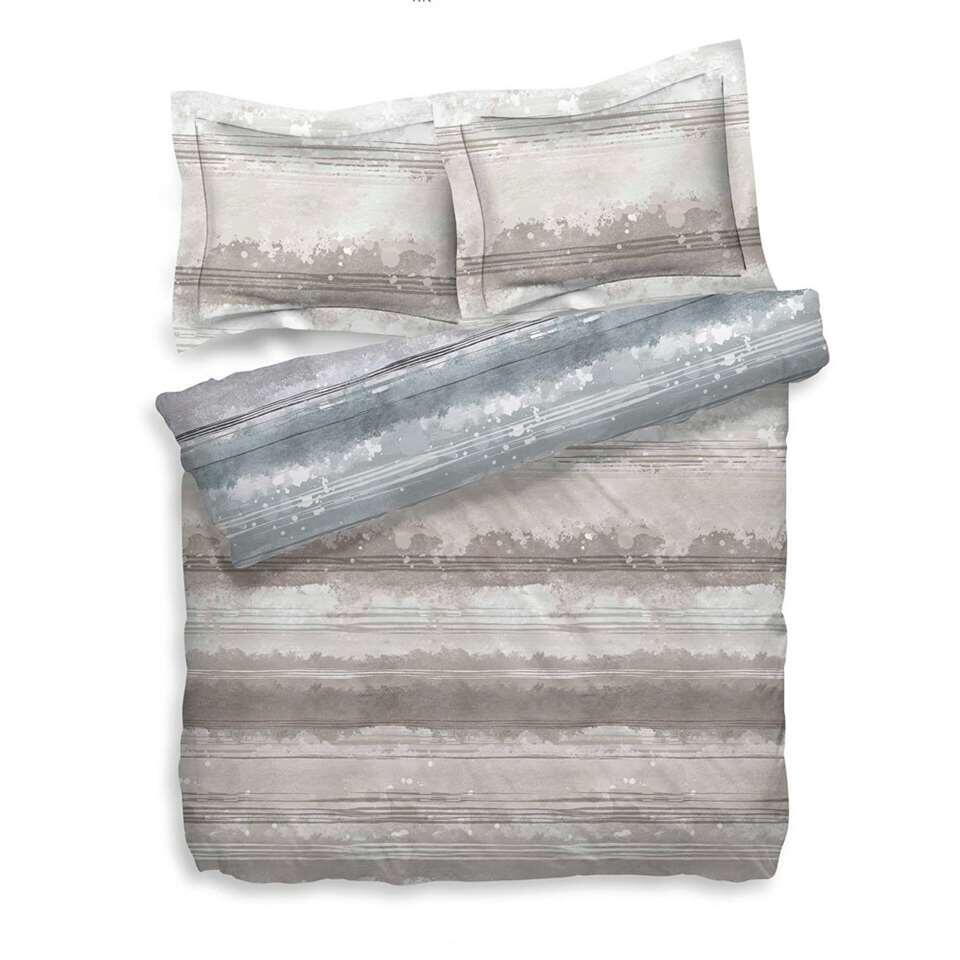 Heckett & Lane dekbedovertrek Donovan - grijs/naturel - 260x200/220 cm - Leen Bakker