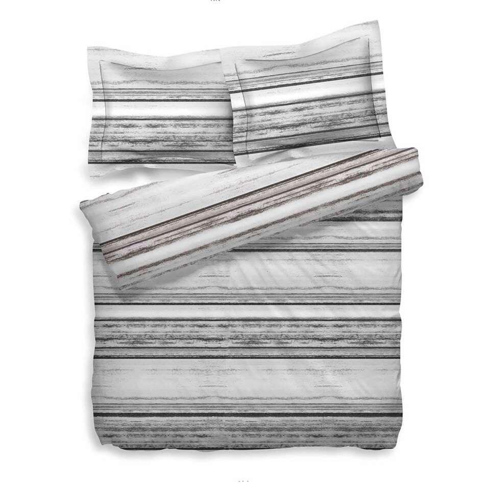 Heckett & Lane dekbedovertrek Skip - bruin/grijs - 200x200/220 cm - Leen Bakker