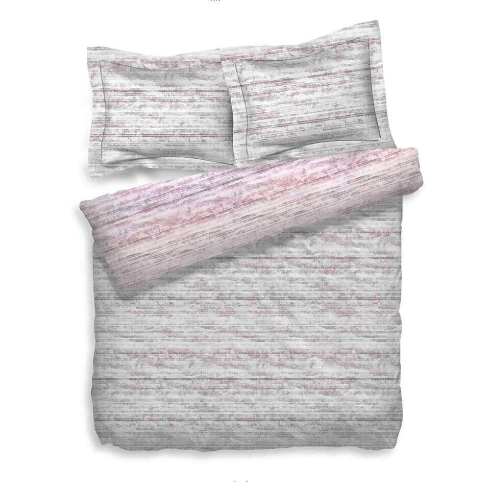 Heckett & Lane dekbedovertrek Sering - roze/grijs - 200x200/220 cm - Leen Bakker