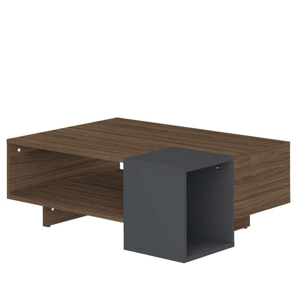 Salontafel Kube is walnootkleur met grijs en is een ware eyecatcher in je interieur. Deze moderne tafel biedt veel ruimte en heeft een open vak onder het tafelblad.