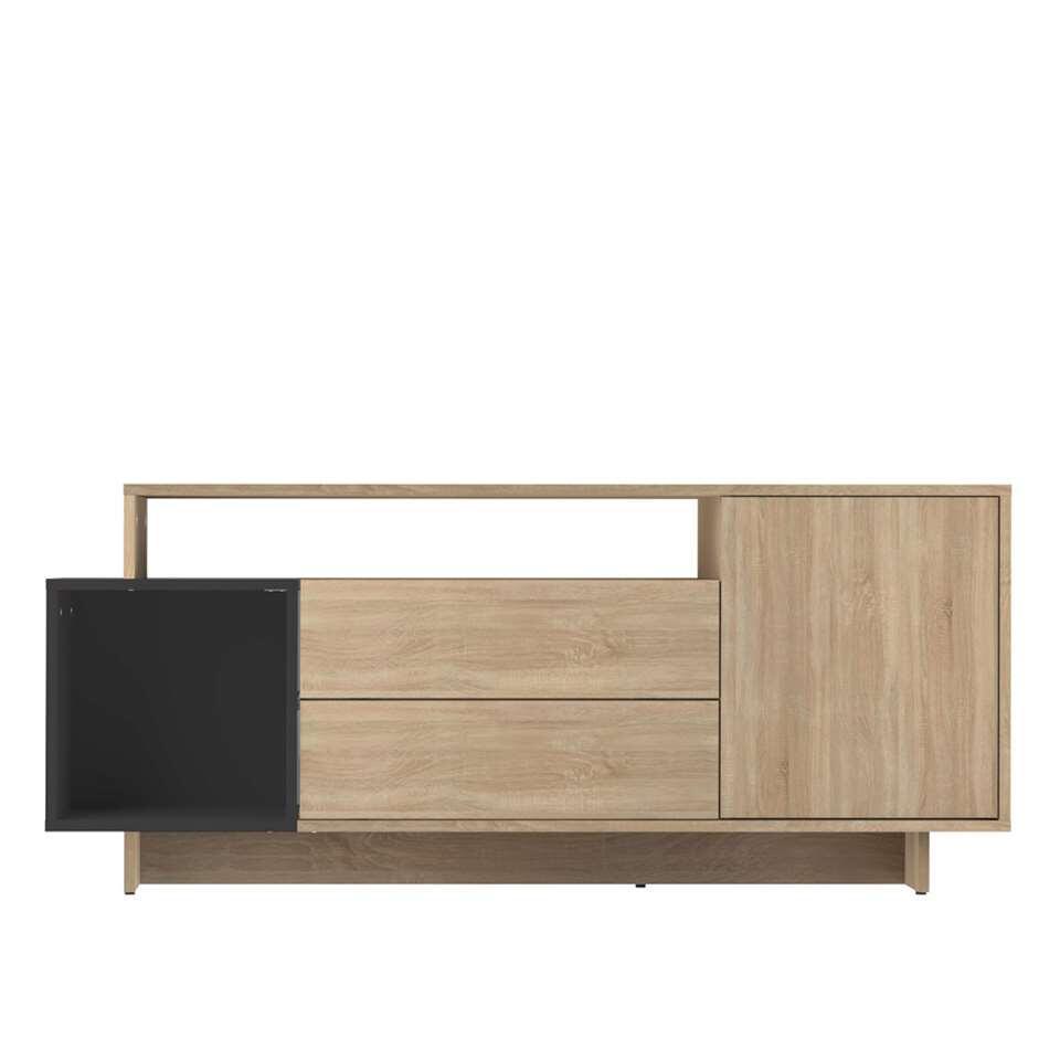 Symbiosis TV-meubel Kube - eikenkleur/zwart - 59,3x139,1x33 cm - Leen Bakker
