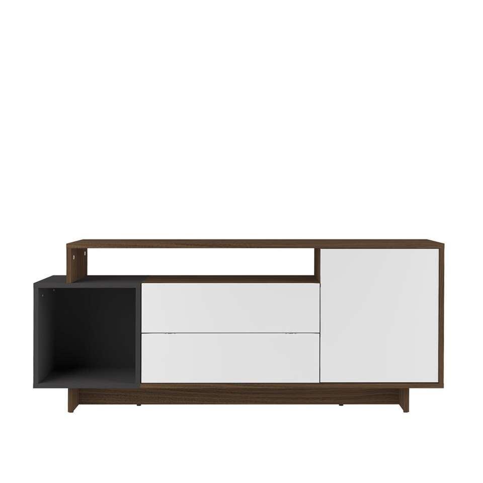 Symbiosis TV-meubel Kube - walnootkleur/grijs - 59,3x139,1x33 cm - Leen Bakker