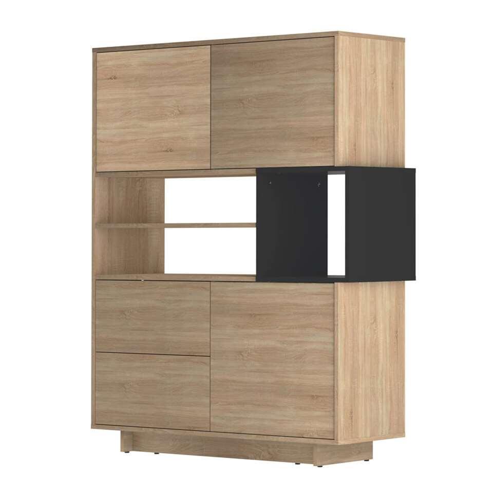 Symbiosis dressoir Kube - eikenkleur/zwart - 147x114,3x40 cm - Leen Bakker