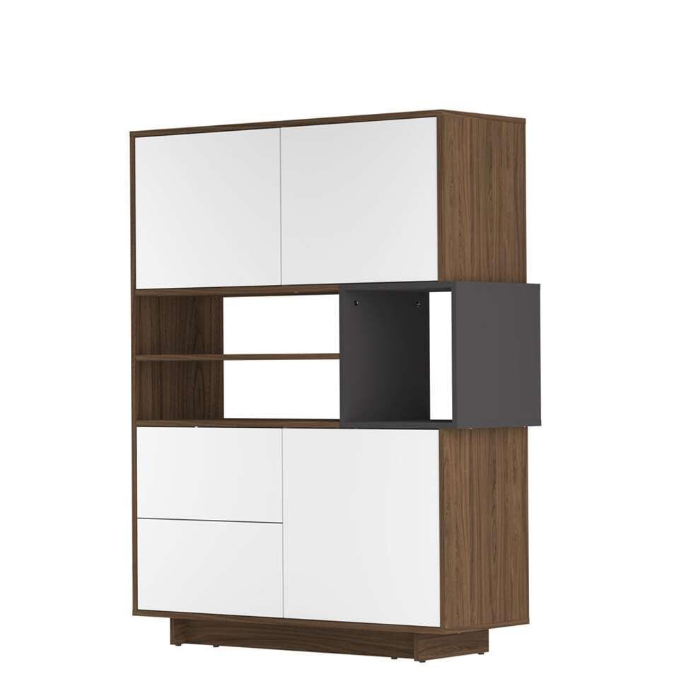 Symbiosis dressoir Kube - walnootkleur/grijs - 147x114,3x40 cm - Leen Bakker