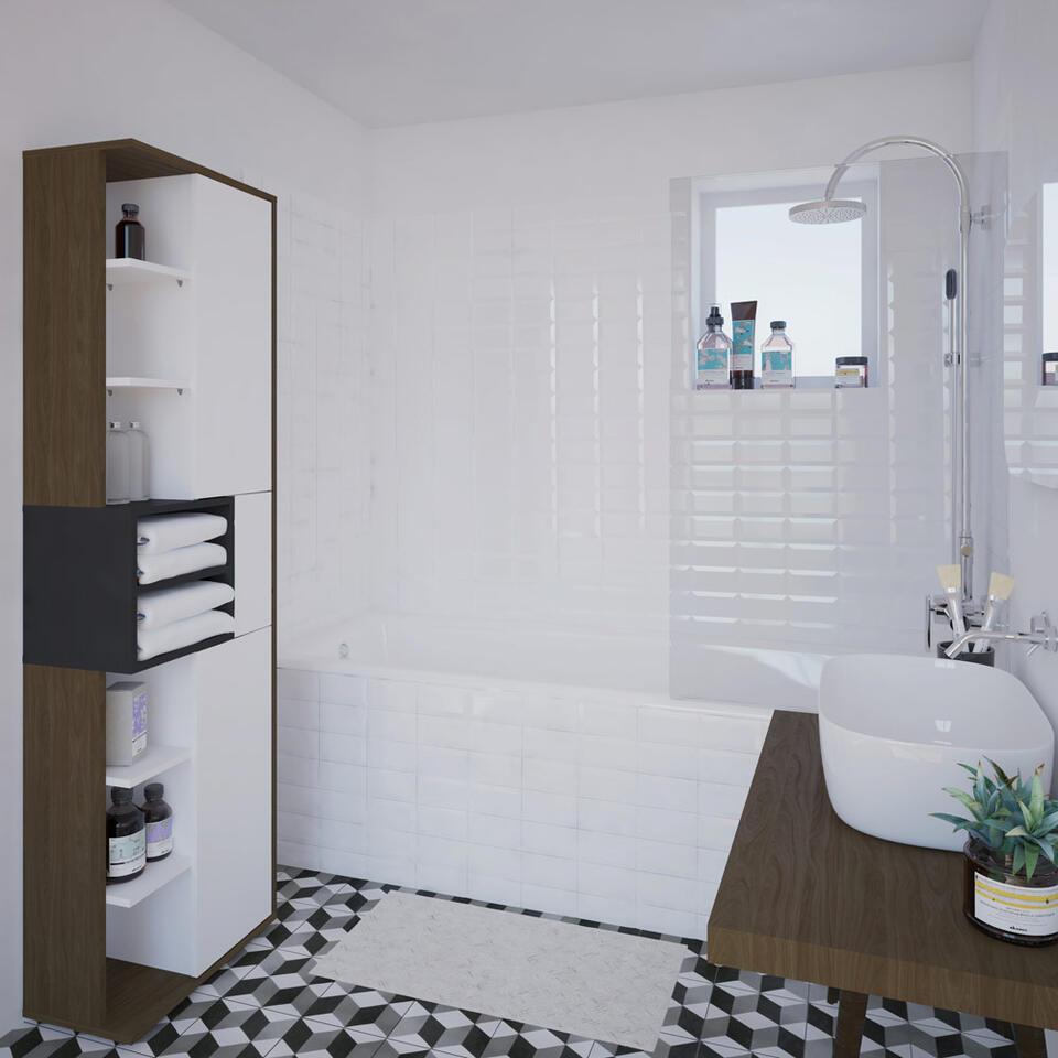 Symbiosis badkamerkast Kube - walnootkleur/grijs - 182,2x50x28 cm - Leen Bakker
