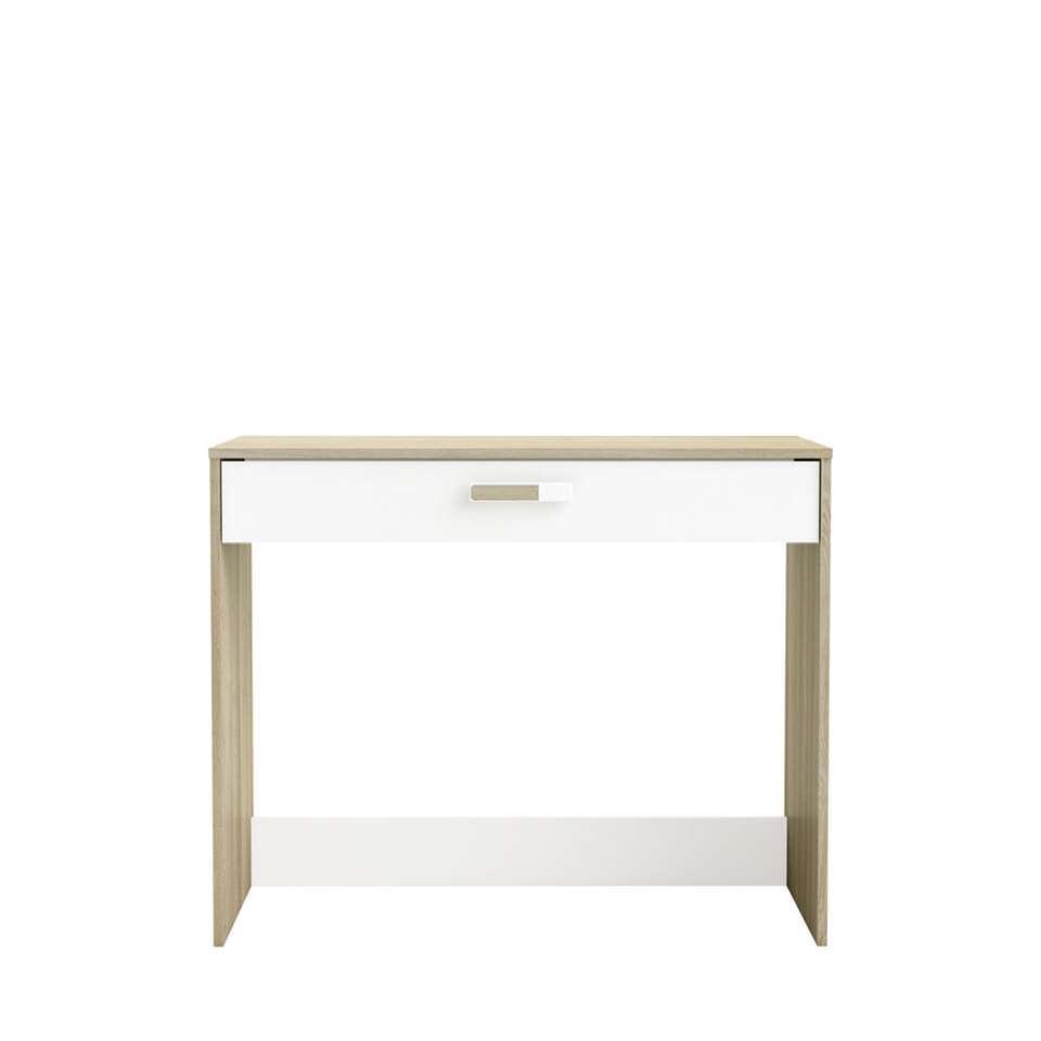 Demeyere bureau Switch met lade - licht eiken/wit - 76,4x94,4x50,1 cm - Leen Bakker