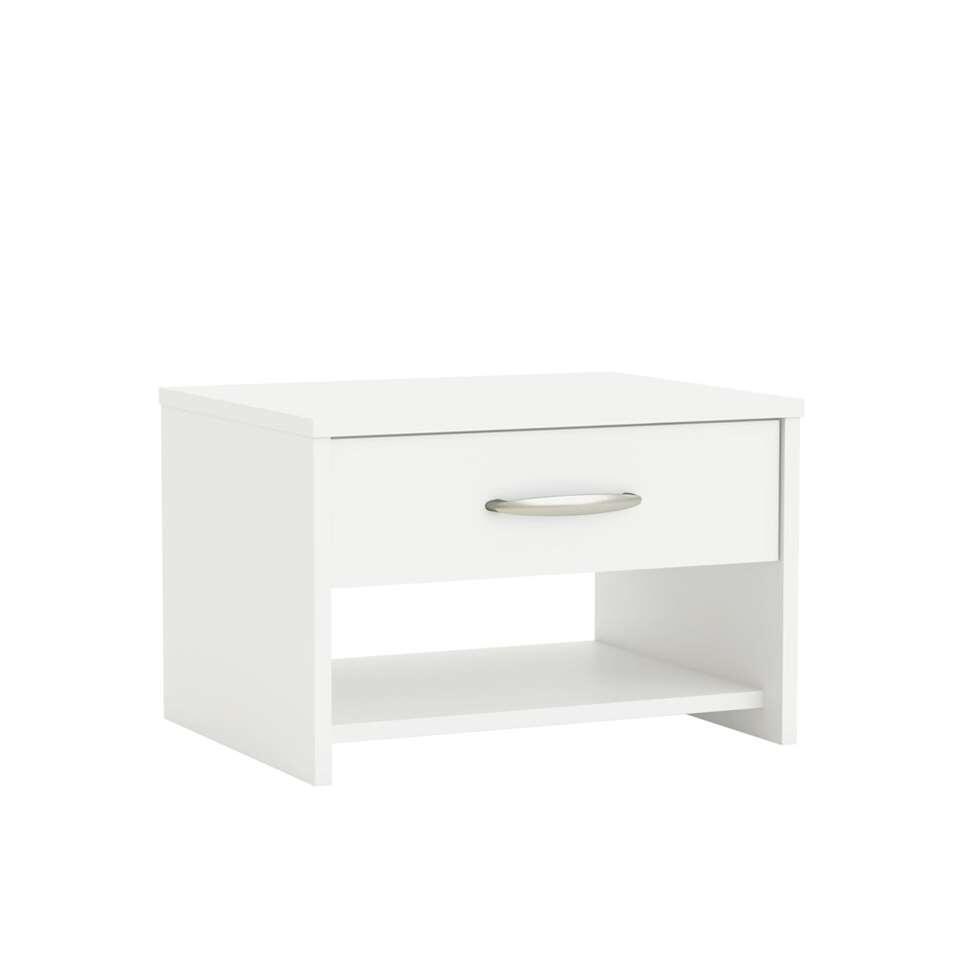 Nachtkastje Marty is een stijlvol kastje voor in de slaapkamer. Dit kastje is wit van kleur en gemaakt van spaanplaat. Dit kastje heeft 1 ruime lade en een open vak voor het opbergen van allerlei handige spullen.