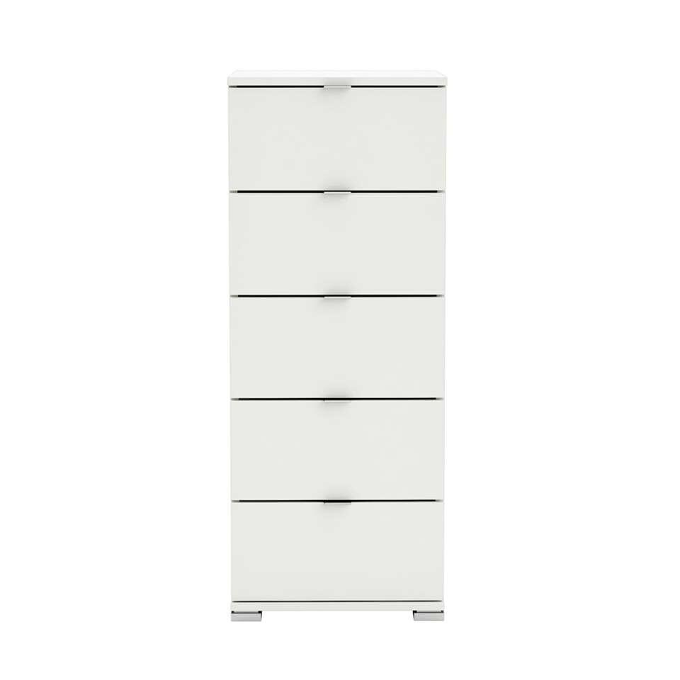 Demeyere ladekast Perfect in een mooie witte kleur is een commode met 5 ruime lades. Ideaal voor in de slaapkamer. Deze commode is ontworpen voor in een modern en elegant interieur.