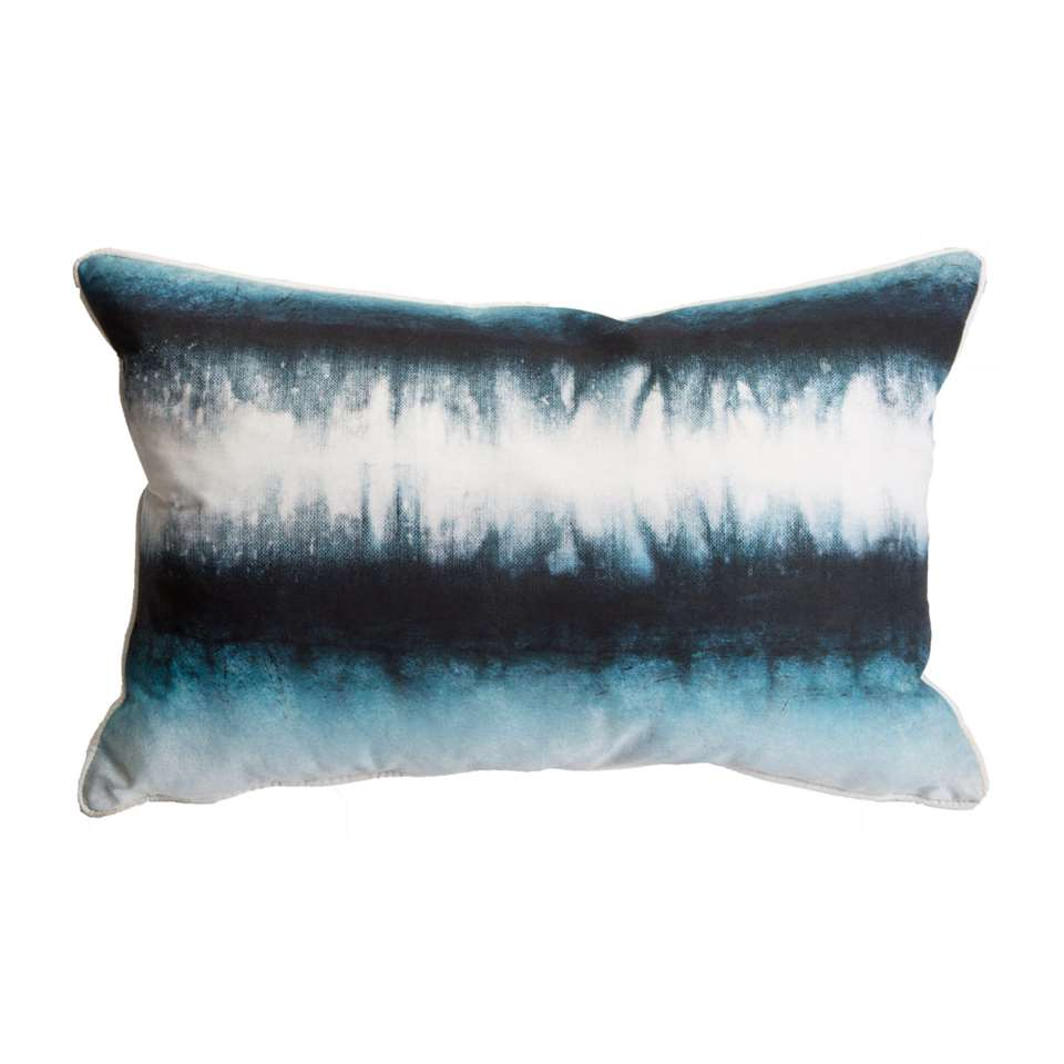 Art for the Home sierkussen Ink Tie Dye - blauw - 60x40 cm - Leen Bakker
