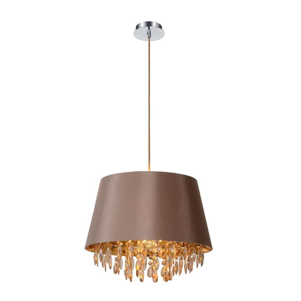 Een taupekleurige lampenkap die je klassiek interieur vervolledigt. Pendellamp Dolti speelt met aardekleuren. Een prachtige collectie glinsterende spiegels zorgt voor een lichtshow aan je plafond.