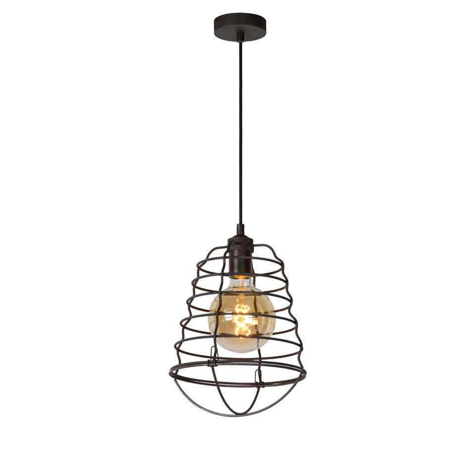 Lucide hanglamp Zych - roest bruin - Ø25 cm