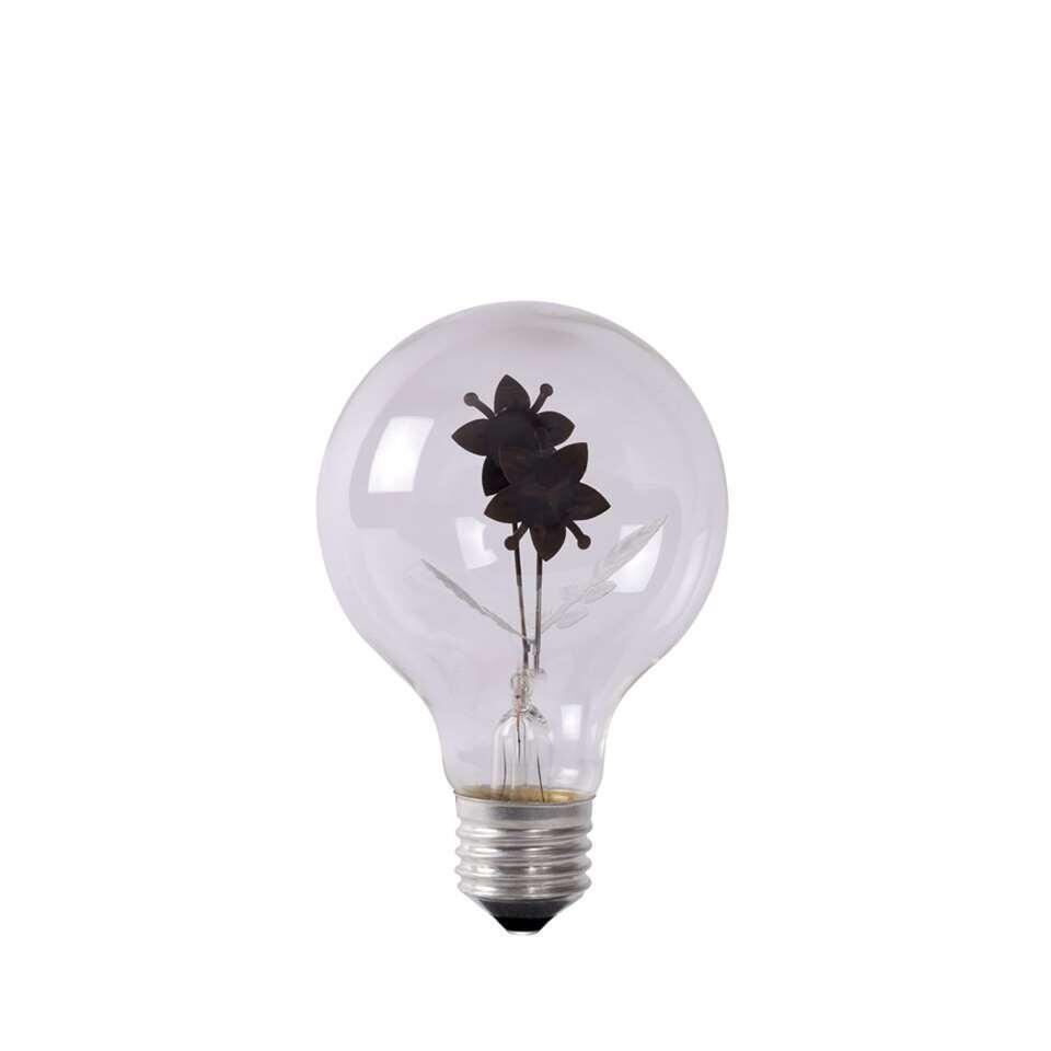 Deze transparante led-lamp combineert technologie met creativiteit. Deze lamp geeft sfeervol en romantisch licht. In de doorzichtige led-lamp lichten rode bloemen met met groene blaadjes op.
