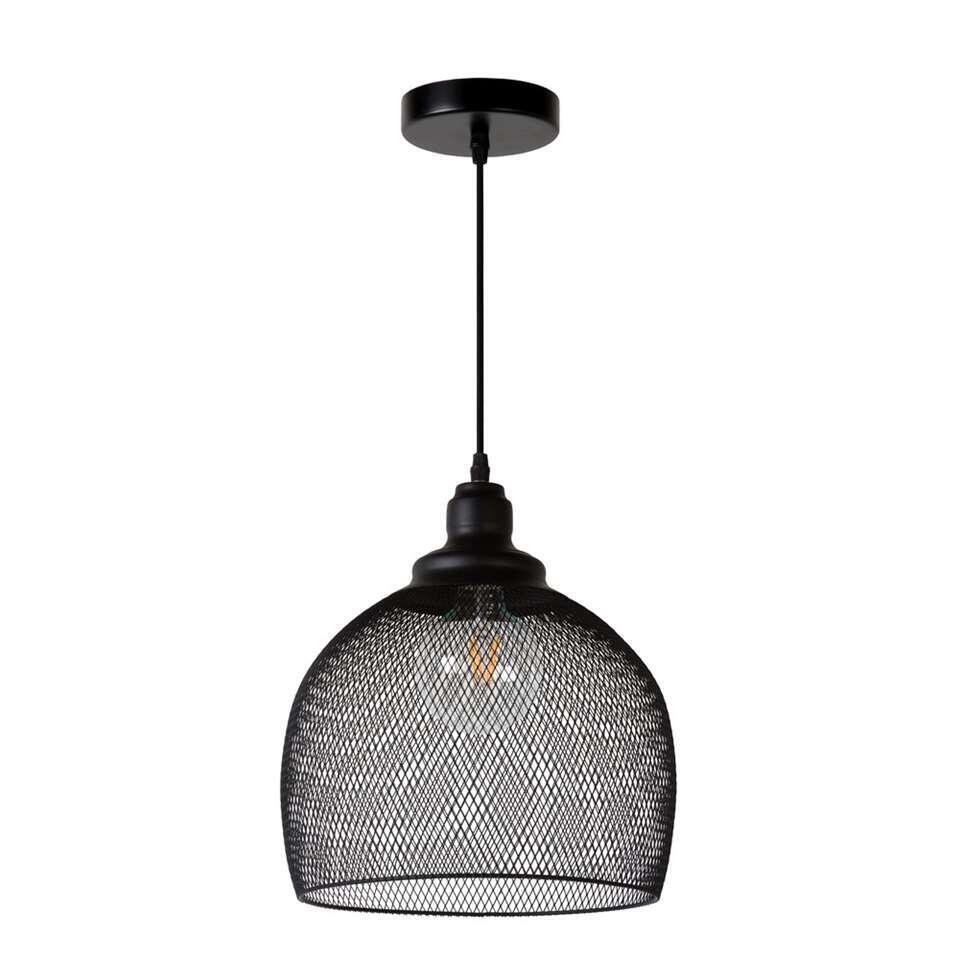 Leen Bakker Hanglampen.Lucide Hanglamp Mesh Zwart O28 Cm