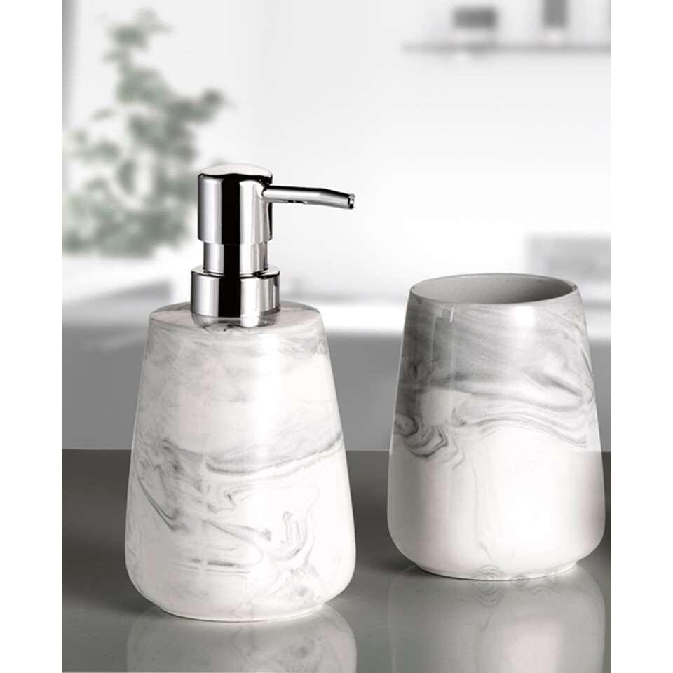 Kleine Wolke badkamerset Marble - antraciet - Leen Bakker