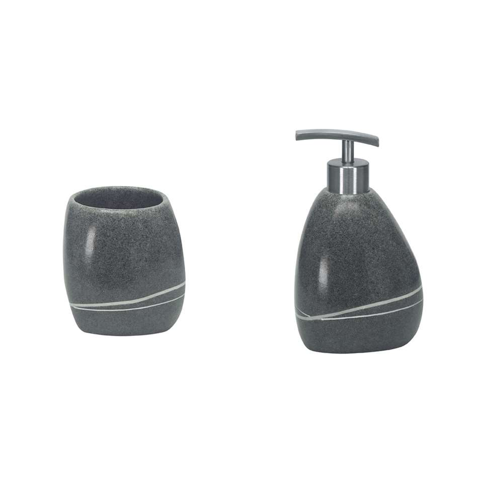 Kleine Wolke badkamerset Stones - grijs - Leen Bakker