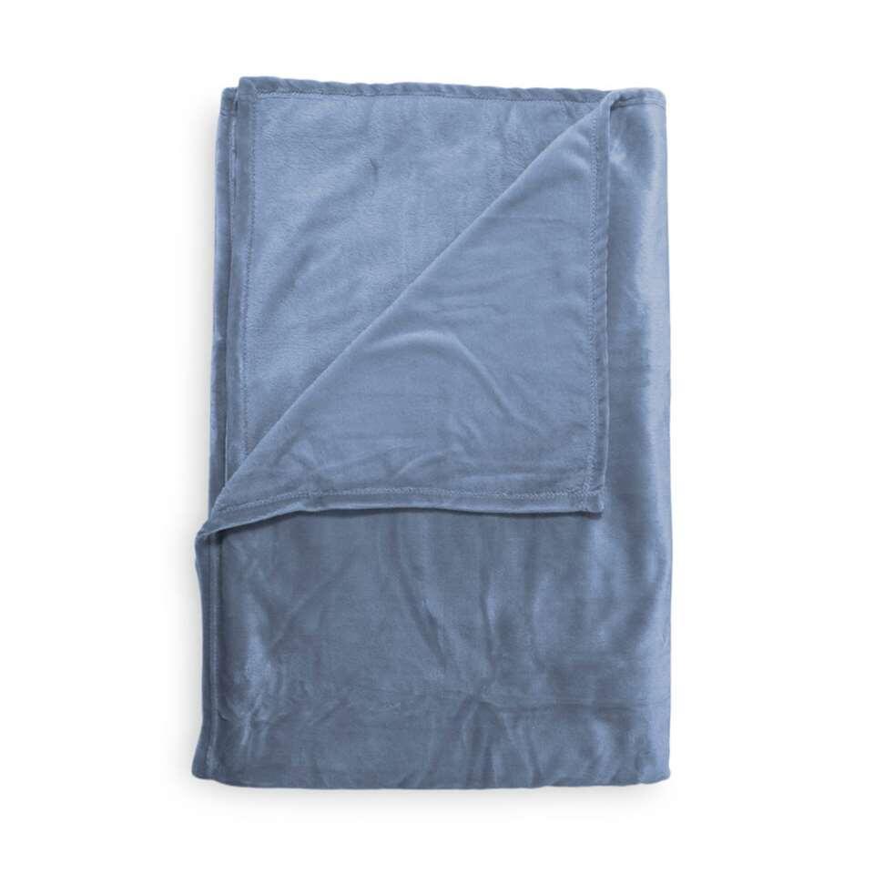 Heckett & Lane plaid Fai - blauw - 150x220 cm - Leen Bakker